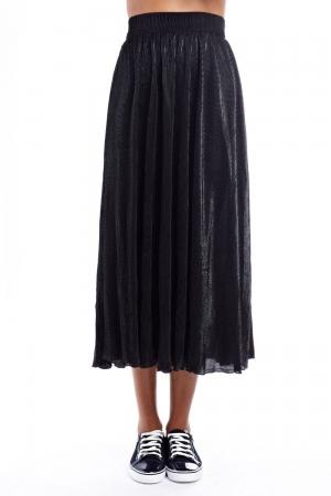 Falda larga metalizada negra