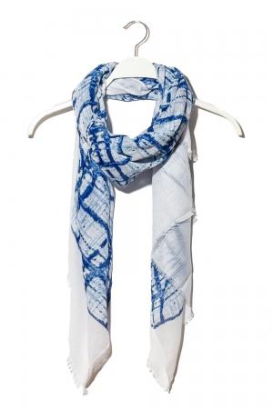 Fular con estampado de cuadrado abstracto azul