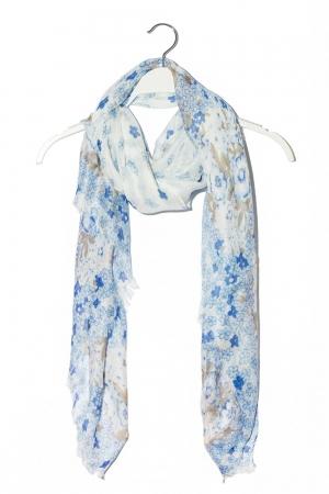 Fular ligero azul con estampado floral y flecos