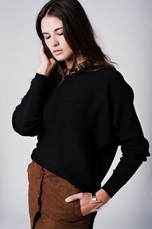 Jersey de punto de canale negro con textura con cuello barco