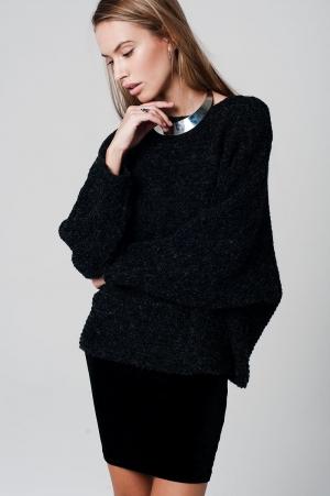 Suéter gris oscuro extragrande con mangas de murciélago