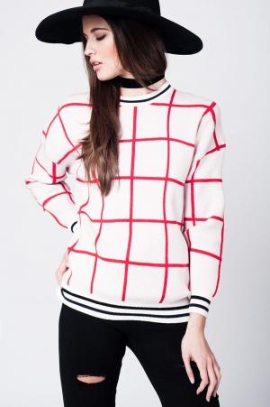 Jersey de punto rosa a cuadros con puños y bajo ajustado