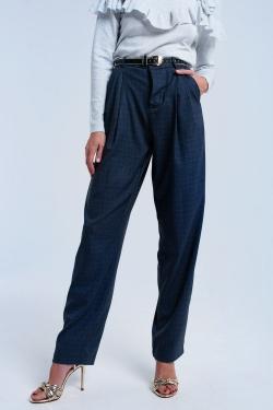 Pantalón gris de patrón de tartán