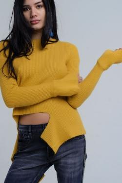 Maglione senape asimmetrico in maglia