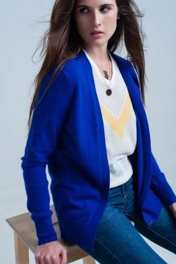 Blue soft Long sleeves angora cardigan