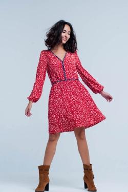 Vestido Midi Floral Rojo con Costuras en Azul