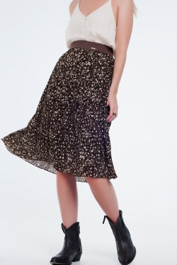 Pleated print midi skirt brown