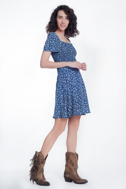 Navy floral gathered front dress