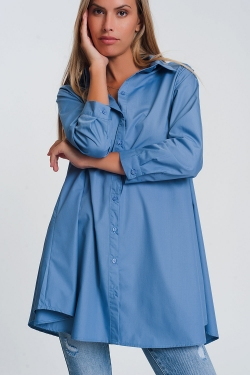 Oversized poplin shirt with collar in blue