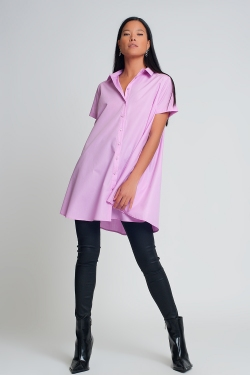 Camicia oversize in popeline a maniche corte color viola