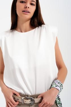 Top senza maniche raccolto in vita in raso bianco con spalline imbottite