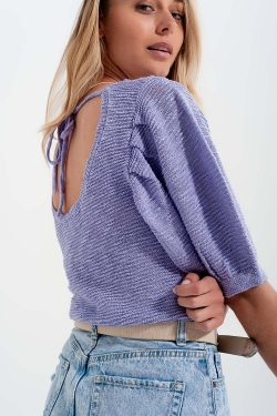 Short sleeve knitted top in violet