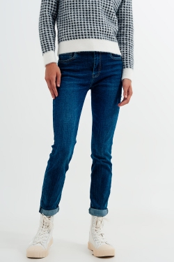High waisted skinny jeans in colour mid blue wash
